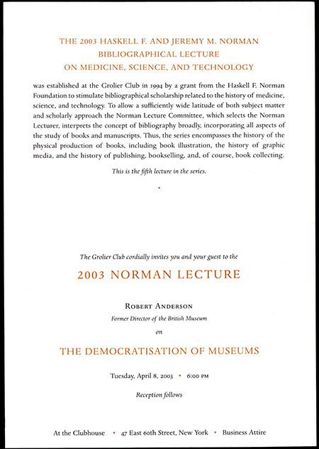 Norman Lecture 2003 Invitation