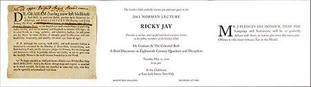 Norman Lecture 2001 Invitation