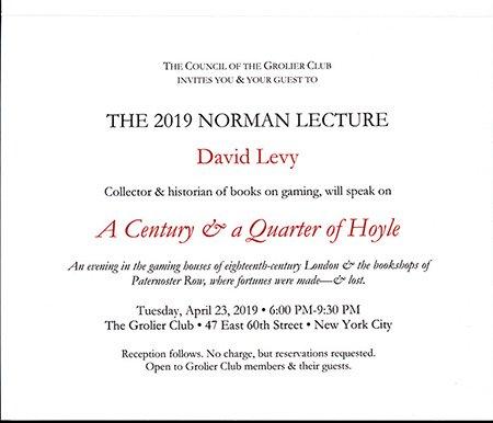 Norman Lecture 2019 Invitation