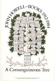 "Poster designed by Christopher Stinehour, showing the John Howell—Books ""family tree."""